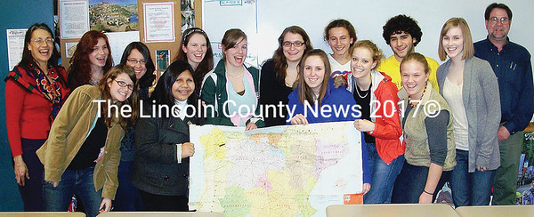 Lincoln Acadamy International Club members display the map of Spain in anticipation of their upcoming study trip to Salamanca.  Left to right: Lourdes Rodriguez-Von Vogt  (teacher), Neila Cole, Arianna Tilton, Chiara Azzaretti, Nellie Shannon, Grace Walton, Amelia Pennington, Elin Gardiner-Smith, Patience Bryant, Chloe Maxmin, Allison Fisher, Dana Malseptic, Christine McCormick, Lesley Yates, Carl Von Vogt (teacher). (Janine Parziale photo).