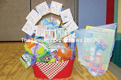 Theme baskets such as this one were available to ticket holders at the Nobleboro Nonsense fest on Thursday. (photo courtesy Nobleboro PTO)