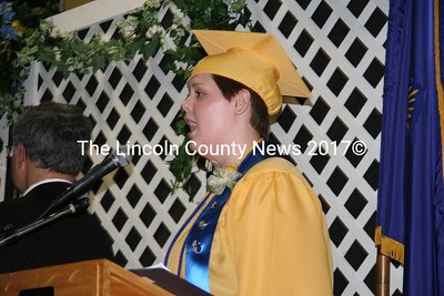 Soloist Sarah Tuttle sang the National Anthem at the Medomak Valley High School Class of 2009 graduation ceremony on June 10. (J Maguire photo)