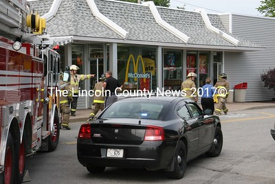 Emergency personnel responded to McDonald's restaurant in Damariscotta, where a fryolator overheated June 11. (J Maguire photo)