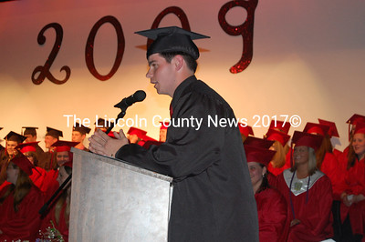 Wiscasset grad Evan Goodkowsky takes down the house with a story as part of the welcome he gave to commencement guests. (Greg Foster photo)