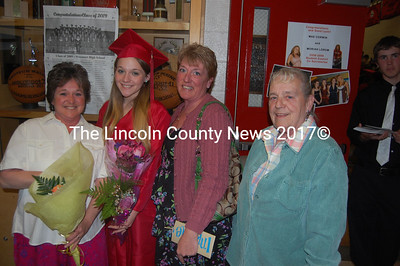 A generational group gather before Wiscasset High School's graduation ceremonies. From left, Trudy Perkins; Perkins daughter, Elsie Cowing; Cowing's aunt, Sherry Foster, and Polly Dalton, Cowing's, granddaughter. (Greg Foste photo)