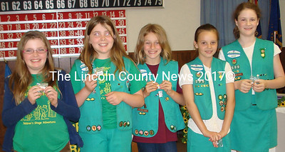 Photographed, (l-r) are: Harley Dustin, Caroline Dustin, Sarah Harvey, Stephanie Hill and Claire Lupien received 5 year Girl Scout membership pins.  Missing from the photo Breanna McKay and Jenny McKay)