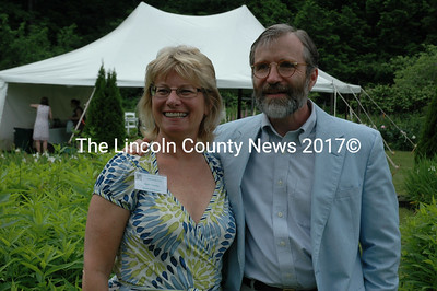 Kirstin Downey, the author of the Frances Perkins biography and Tomlin Coggeshall, Perkins' grandson, welcomed visitors to a garden party at the former Labor Secretary's Newcastle home on the River Road. The event celebrated female political leaders. (Joe Gelarden photo)