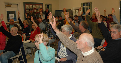 The ayes have it as Newcastle voters approve state mandated resource protection ordinance.(Joe Gelarden photo)