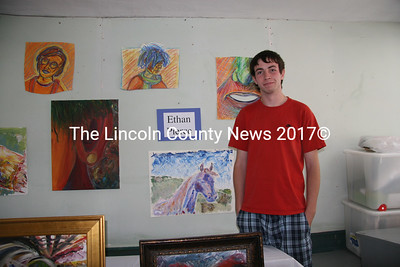 Gardiner artist Ethan Pierce brought some of his work to the Jefferson Townhouse art show on Saturday to support the Historical Society's restoration project. (J Maguire photo)