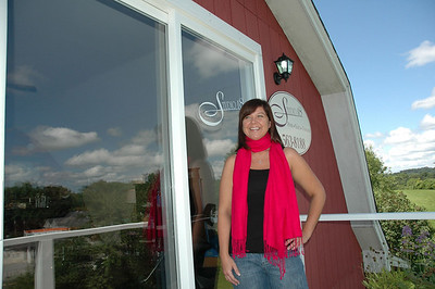 """Brie Konitzky has opened her own hair salon """"Studio 18"""" at the corner of School Street and Bus. Rt. 1 in Damariscotta. The shop is upstairs in a red barn tucked up the hill from Supplies Unlimited. She is open 9 a.m. to 5 p.m., Mon.-Sat., and closed Tuesday and Sunday. (Photo by Joe Gelarden)"""