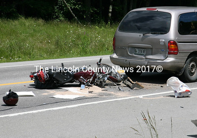 A motorcyclist died as a result of a collision with a van on Rt. 1 in Waldoboro on July 9. (J Maguire photo)