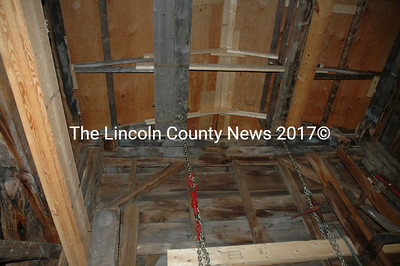 Inside the bell tower, stout oak timbers will be wedged into place to hold the clock, the two ton bell and the steeple. (Joe Gelarden photo)