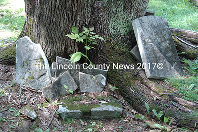 Destruction caused by tree growth. The base and diagonally broken stone behind it in the center of the photo are the bottom pieces of the headstone of Mathias E. Moody, seen on the right. Other pieces are parts of the headstone for Alonzo as well as others.