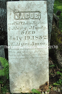 Headstone of Jacob Moody, d. 1852, son of Chamberlain and Mary Moody. (Mary was sister to Solomon.) Headstone was unearthed following the removal of several trees in 2009.