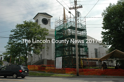 The steeple of the historic Damariscotta Baptist Church is starting to take shape. (Joe Gelarden photo)