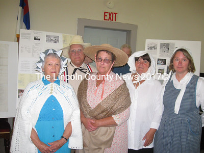 Photographed (l-r) and attired in 1829 garb for the reenactment are Ava Keene, Hooper Cutler, Jean Cutler, Ruth Poland, and Rev. Kathleen Maclachlan. (Nancy Wilson photo)