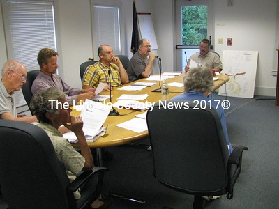 Planning Board members for the town of Waldoboro quietly listened during their regularly scheduled meeting Wednesday night as several residents energetically expressed their opposition to state imposed minimum shoreland setbacks. (J Maguire photo)