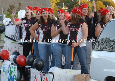 Lincoln Academy's field hockey team showed a lot of spirit in the Homecoming parade Friday night.
