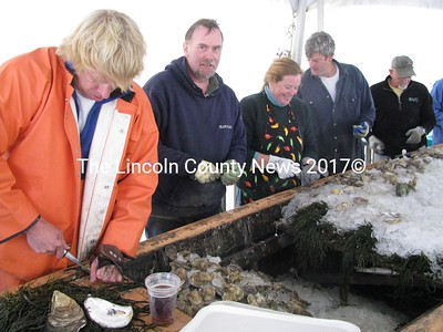 """A joyous crew of skilled oyster shuckers came from near and far to participate in the annual oyster festival along the Damariscotta River on Saturday. From left: Chip Holmes of Newcastle, David Pierce of Nobleboro, Amber Tonry of Edgecomb and Tom Campbell of Deensboro, NY. """"It always has to rain,"""" Campbell said, concluding that the festival wouldn't be the same were it not for gray skies and misty weather. (J Maguire photo)"""