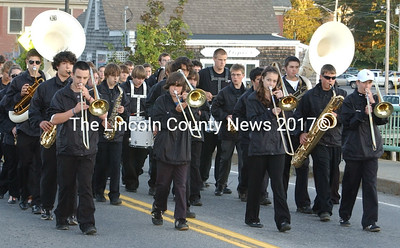 Lincoln Academy's band strikes up a tune in the Homecoming parade.
