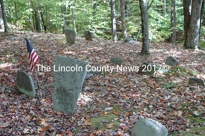 The Old Hodgkins Burying Ground, GR-123, has many handmade and natural fieldstone markers.