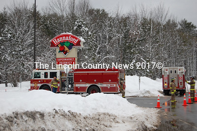 Damariscotta Fire and Police departments evacuated the Damariscotta Hannaford store during the afternoon Jan. 20. Firefighters helped to evacuate the building and parking lot and have been preventing anyone entrance. (J Maguire photo)