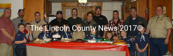 Cub Scout Pack 216 in Jefferson held a father son cake backoff on Fri., Jan. 22 to thank their sponsors and charter organization, the First Baptist Church in Jefferson. Pictured (left to right) are Ben and Shawn Carter, Nick Drogosek and his grandfather John, Nicholas and Paul Huber, Dylan and Lucas Grotton with dad Jeff, Forrest and David Teele, Madison and Andy Allen, Nathan and James Crossley, Gabriel and Gary Laweryson, Wyatt and Steve Bolster, and Jonathan and Rob Burke. Missing from the photo is Michael Sprague with his nickel cake. (Paula Roberts photo)