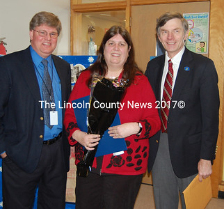 The state of Maine recognized Wiscasset Middle School principal Linda Bleile as Administrator of the Year and honored during an all school Spirit Assembly Thursday morning, Jan. 21. Greg Potter, superintendent for RSU 12 and Rep. Les Fossel (R.-Alna) came to the school to present Bleile the award and to thank her for her service to the community. (J Maguire photo)