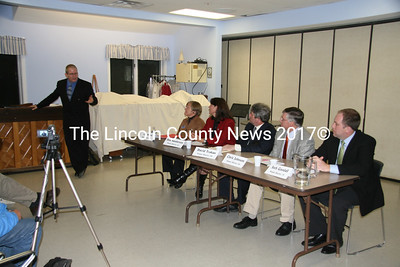 Candidates' debate moderator and editor of The Lincoln County News, Sherwood Olin, opens up a discussion Monday night at the Mobius Center in Damariscotta. Seated L to R: District 52 Representative Lisa Miller (D-Somerville), her opponent, Deb Sanderson (R- Chelsea); District 20 Sen. David Trahan (R- Waldoboro), his opponent, Chris Johnson (D-Somerville), and District 19 Sen. Seth Goodall (D-Richmond). District 19 Republican candidate David Kaler (R-Bath) did not respond to invitations to appear. District 20 Senate candidate Dan Schweitzer (I-Westport Island) was out of the county on business and unable to attend.