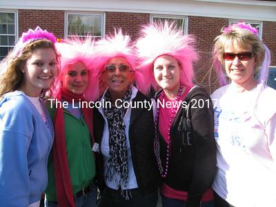 The Damariscotta Hardware Making Strides team included local ladies (l-r) Lexie Fossett, Jessica Sylvester, Jade Simmons, Brenda Jones and Susan Geyer. (John Maguire photo)