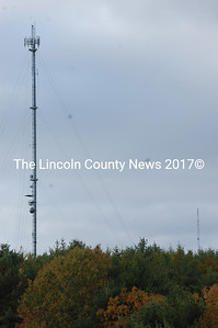 Seen from North Mountain Road in Jefferson, the tower on the left is a cell phone tower. To the right of the cell tower is one of the broadband Internet towers proposed for Waldoboro. The towers are next to each other on Haskell Hill. (Samuel J. Baldwin photo)