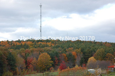 Seen from North Mountain Road in Jefferson, the tower on the left is a cell phone tower. Barely visible, to the right of the cell tower, is one of the broadband Internet towers proposed for Waldoboro. The towers are next to each other on Haskell Hill. (Samuel J. Baldwin photo)