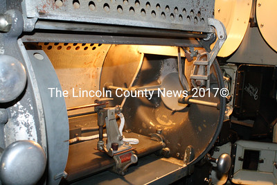 The innards of the 1932 carbon arc projector used at the Harbor Theatre in Boothbay. (Matthew Stilphen photo)