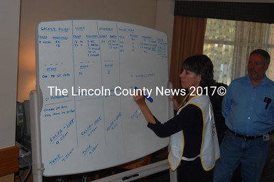"Lisa McIlwain, Vice President of Human Resources for Lincoln County Healthcare, tracks the ""evacuation"" of the Miles Health Care campus. (J.W. Oliver photo)"