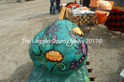The stunning illustration of this pumpkin is the work of Damariscotta artist Jacques Vesery, who also designed the 2010 Damariscotta Pumpkinfest & Regatta posters and t-shirts. (J.W. Oliver photo)