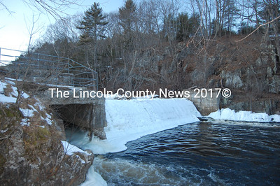 Water flow over the Head Tide Dam in Alna was frozen in the moment this month. (J Maguire photo)