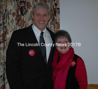 GOP governor candidate Steve Abbott and his second grade teacher, Boothbay resident Sarah Seepe. (Joe Gelarden photo)