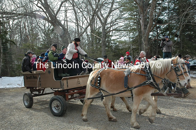 Margaret Sproul of Pemaquid offered rides in a cart pulled by a matched pair of Haflinger horses named  Mindy and Cindy. (Joe Gelarden photo)