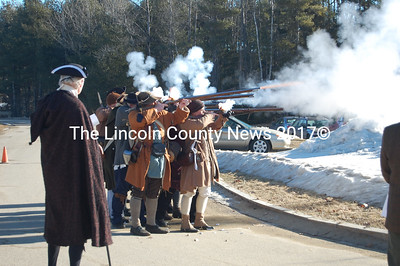 Major Samuel Denny's militia fire off rounds in a ceremony marking the Feb.13, 1760 incorporation of Pownalborough on Saturday. (J Maguire photo)