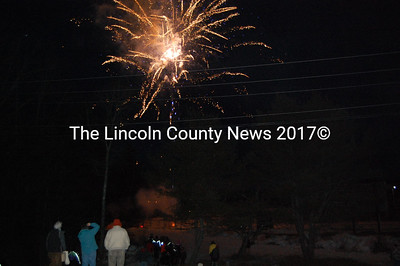 Fireworks lit up the night sky outside of the Wiscasset Community Center on Saturday, firing off Lincoln County's 250th anniversary. (J Maguire photo)