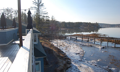 The view from the restaurant on the Davis Island property shows a dock condominium owners have access to. The property formerly owned by Roger Bintliff of Edgecomb Development, LLC is in the hands of the Savings Bank of Maine and is being managed by Priority Group, LLC of Topsham. Priority Group will sell the property either in parcels or in its entirety.  (J Maguire photo)