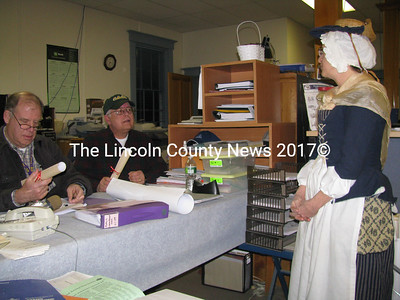 At the Dresden Board of Selectmen meeting Monday night, Wiscasset town clerk Becky Applin invited Dresden town fathers to participate in the celebration of the Lincoln County's 250th anniversary in Wiscasset. Wiscasset will initiate the celebration with events from Monday, Feb. 8 to Sun., Feb 14 to include dinners, fireworks, dancing and many other activities. While Wiscasset kicks off the celebration, Dresden selectmen said they plan to host an event this summer. They also plan to somehow recognize the anniversary at the annual Winter Fest in Dresden on Feb. 20. (J Maguire photo)