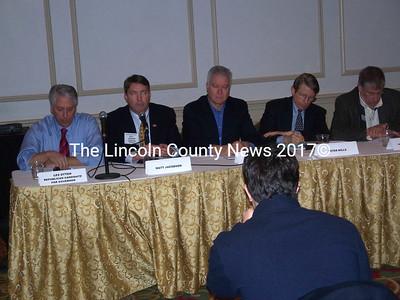 Twelve gubernatorial candidates attended a forum at the Maine Fishermen's Forum March 5. Seated (l-r) are candidates Les Otten, Matt Jacobson, John Richardson, Sen. Peter Mills, and Eliot Cutler. (Kim Fletcher photo)