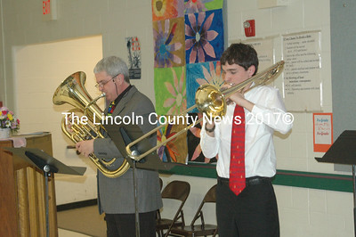 GSB music teacher teacher John Morneau, on euphonium, accompanies trombone maestro Julian Frink. (S. Olin photo)