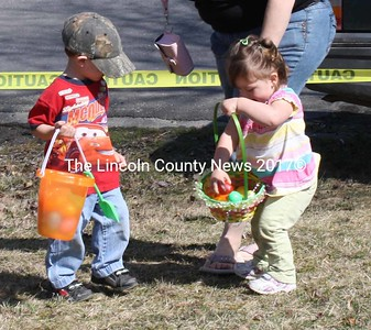 The little kids are the cutest hunting up Easter Eggs courtesy of the New Harbor Fire Department. (K. Lizotte photo)