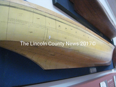 Ship builders of years' past would make half-hull models before embarking on the massive task of building a real ship. This half hull at the Maine Maritime Museum in Bath shows the measurements ship builders would use to plan a project. (J Maguire photo)