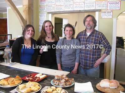 Fernald's Country Store owner Sumner Richards joins co-manager Caeli Shadis and students Samantha Dean and Mallory Heaberlin. (J Maguire photo)