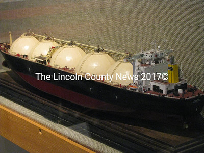 "LNG Tanker model built by Captain Norman Smith, Downeast Shipmodelers' Guild Librarian from Harpswell. The model is currently displayed at the Maine Maritime Museum as part of an exhibit called, ""Some Burdensome: Big Ships, Big Cargoes."" (J Maguire photo)"