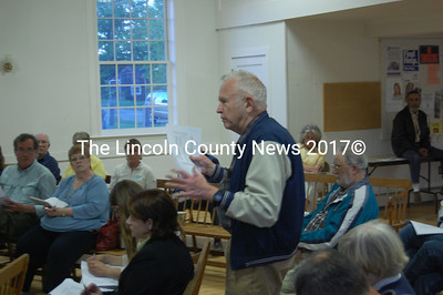 Edgecomb resident Byron Johnson explains his opposition to an amendment to the town's TIF district in a public hearing May 17 (J.W. Oliver Photo)