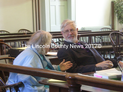 Fern Clark consults with defense attorney Andrews Campbell in Superior Court Thursday (J.W. Oliver photo)