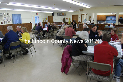 Waldoboro residents gather in small groups at the VFW hall on Mill Street on May 18 to discuss the future of their town during the first of three neighborhood meetings, as part of the Waldoboro visioning process. (Samuel J. Baldwin photo)