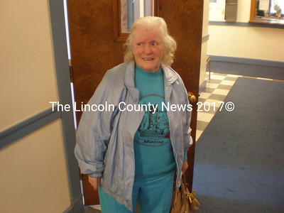 Fern Clark, 80, of Somerville, outside the courtroom during her assault trial.  (J.W. Oliver photo)