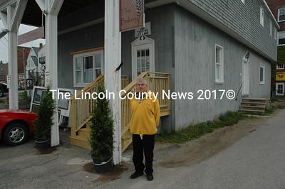 Damariscotta Selectman David Atwater stands before his bakery. (Joe Gelarden photo)